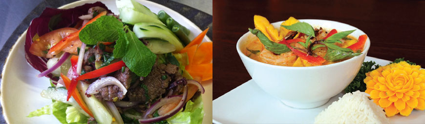 Thai beef salad and yellow curry